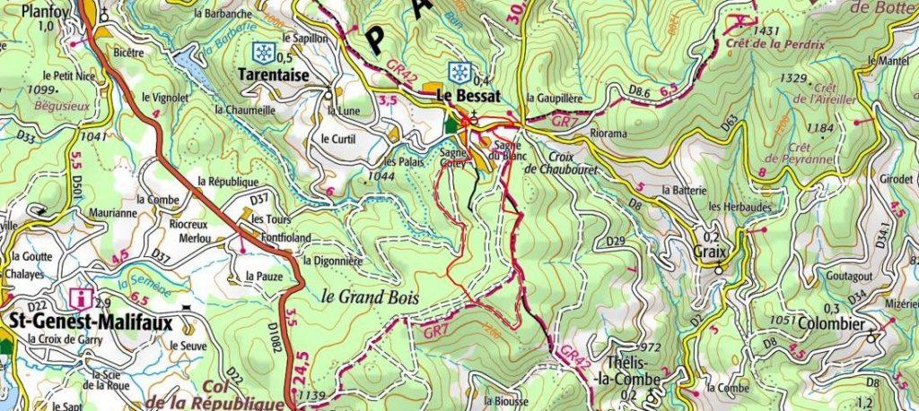 Parcours du Trail du Bessat 2018 - Carte IGN - Vue d'ensemble