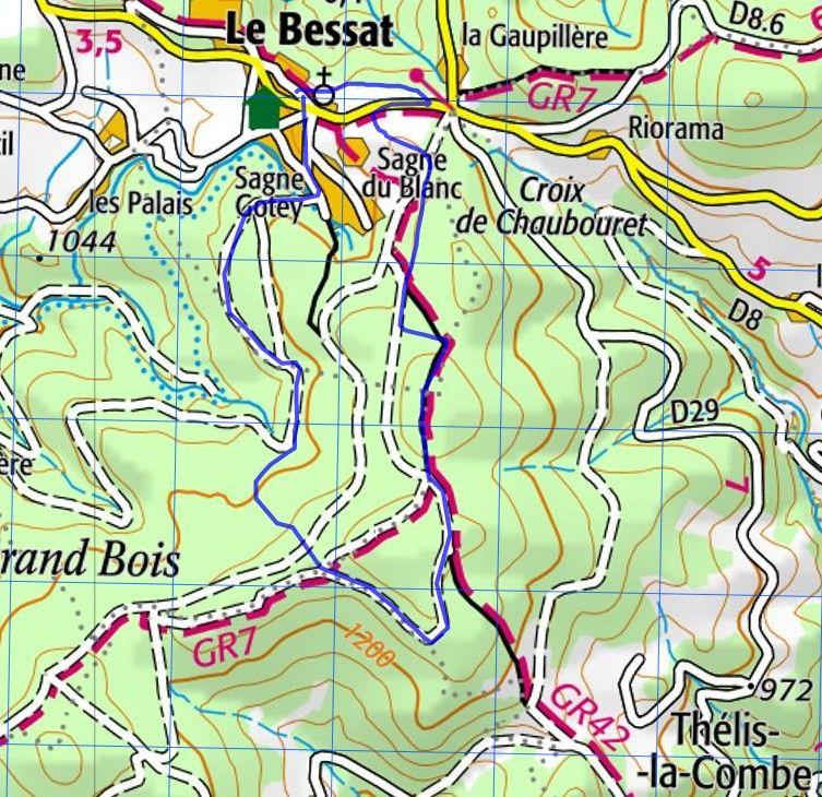 Parcours du Trail du Bessat 2018 - Carte IGN