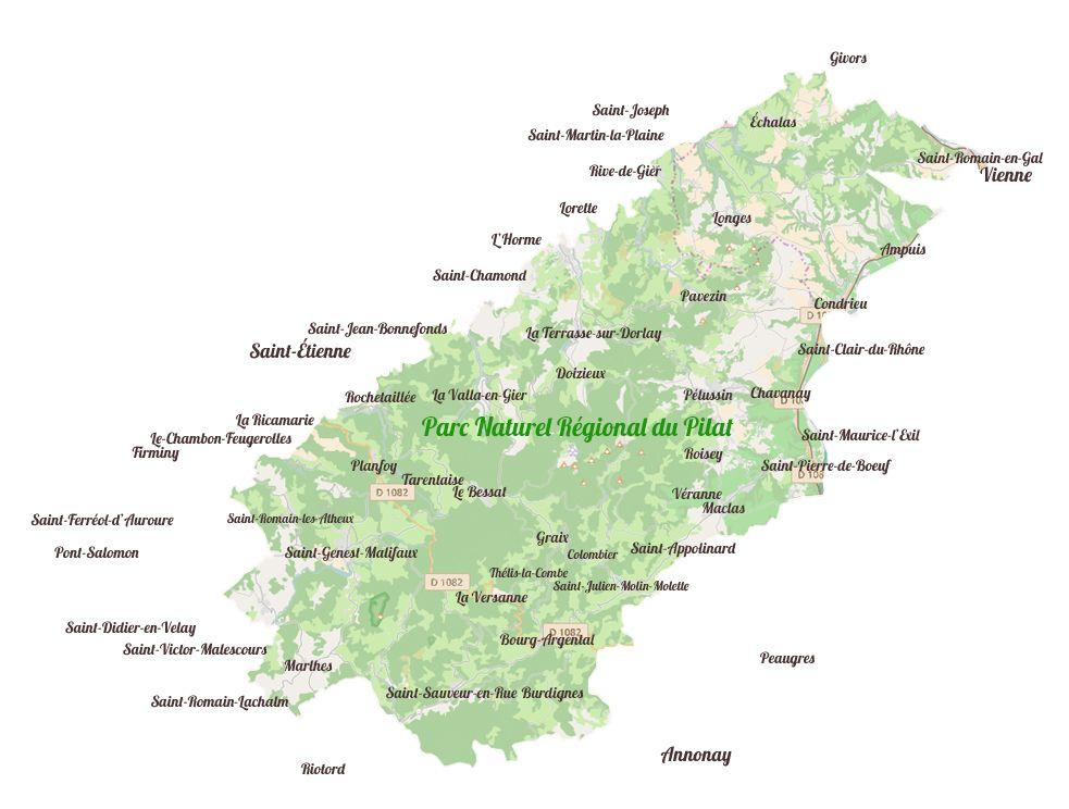 Carte des villages du Parc Naturel Régional du Pilat et des villes autour