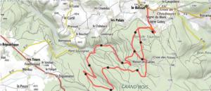 Carte du parcours du trail nocturne de la Nuit Blanche du Pilat 2020 - 13 km