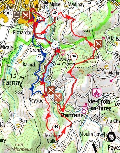 Carte des parcours 13 et 22 km de la foulée de Châteauneuf 2020