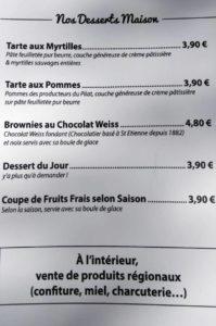 Carte des desserts de L'Auberge de La Jasserie du Pilat - 2020