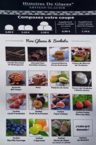 Carte des glaces restaurant La Jasserie du Pilat