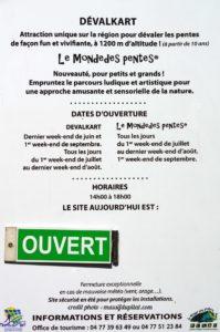 Dates et horaires d'ouverture du devalkart du Pilat à Graix (42)