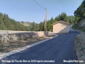 Barrage du Pas du Riot à Planfoy en 2020 après 2 ans de rénovation