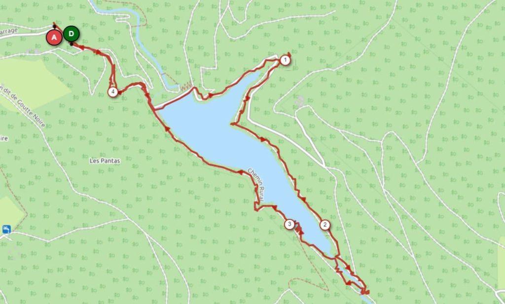Carte du tour du barrage du Pas de Riot à Planfoy