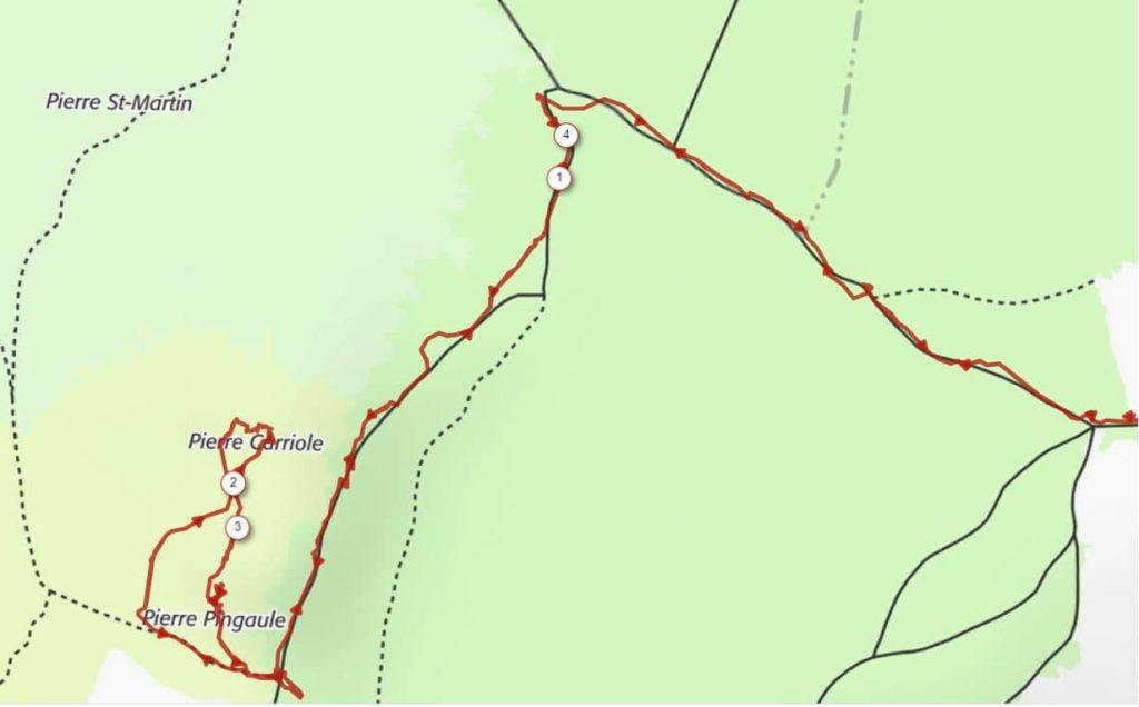 Carte de la balade vers la Pierre Carriole et Pingaule depuis Prélager à Saint-Régis-du-Coin