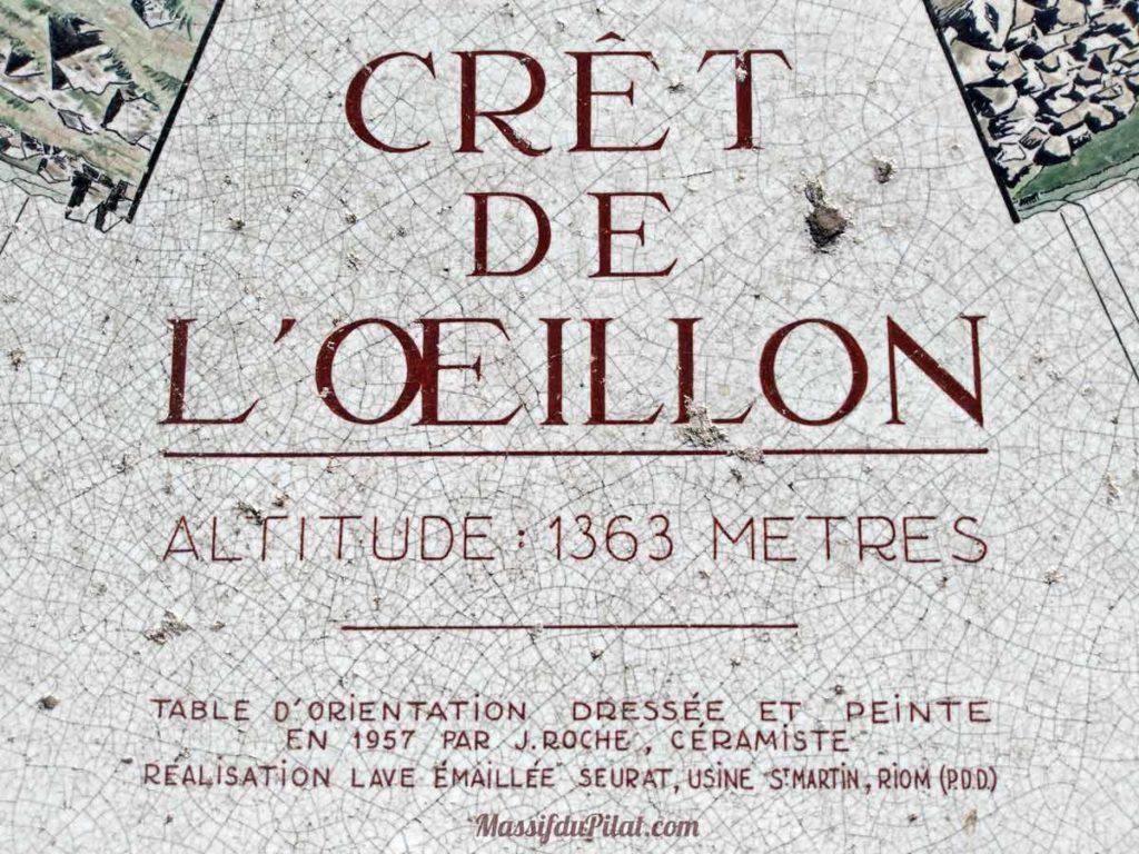 Crêt de l'Oeillon altitude 1363 mètres