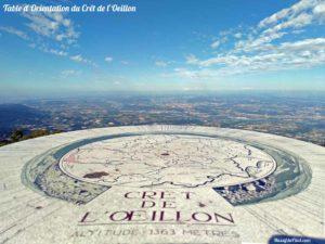Table d'orientation du Crêt de l'Oeillon dans le Pilat et vue sur la vallée du Rhône.