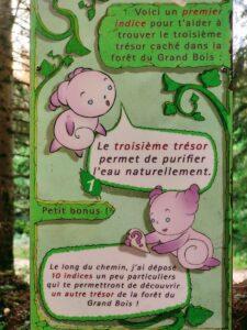 Premier indice de la troisième énigme pour trouver le troisième trésor de la forêt des Grands Bois du Pilat