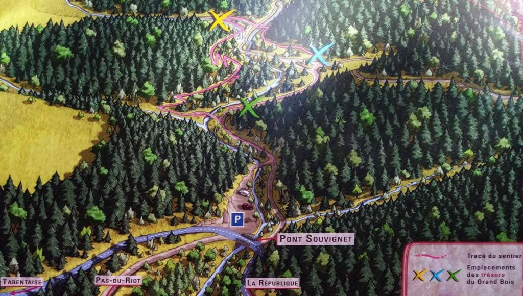 Carte de la balade enfant des Grands Bois du Pilat au départ du Pont Souvignet