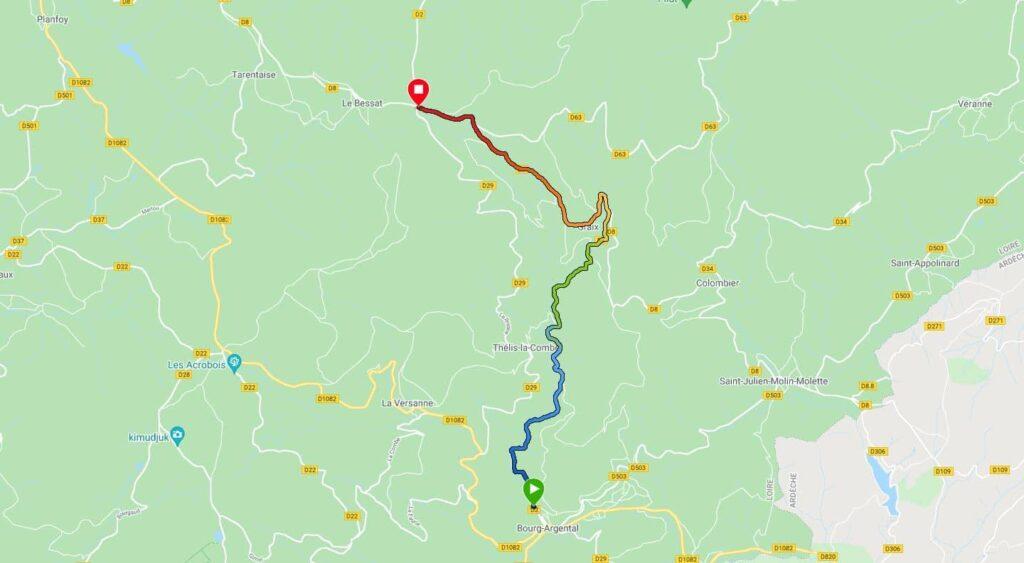 Carte du parcours de la montée au Col de La Croix de Chaubouret depuis Bourg-Argental