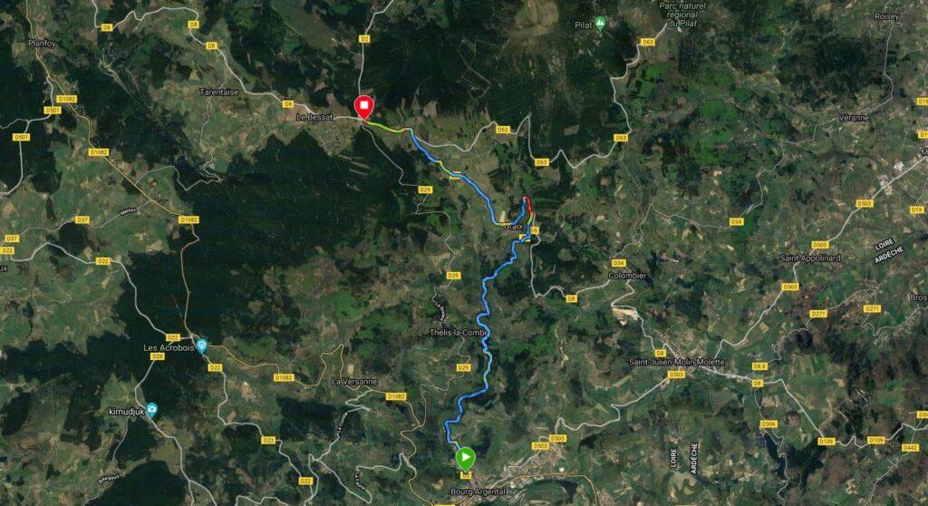 Carte du parcours vélo du Col de la Croix de Chaubouret au départ de Bourg-Argental